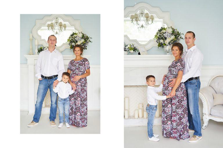 Фотосессия беременных с мужем и сыном в студии 43